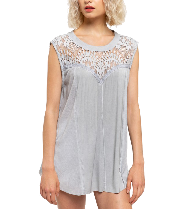 Dove Grey Lace Trimmed Top