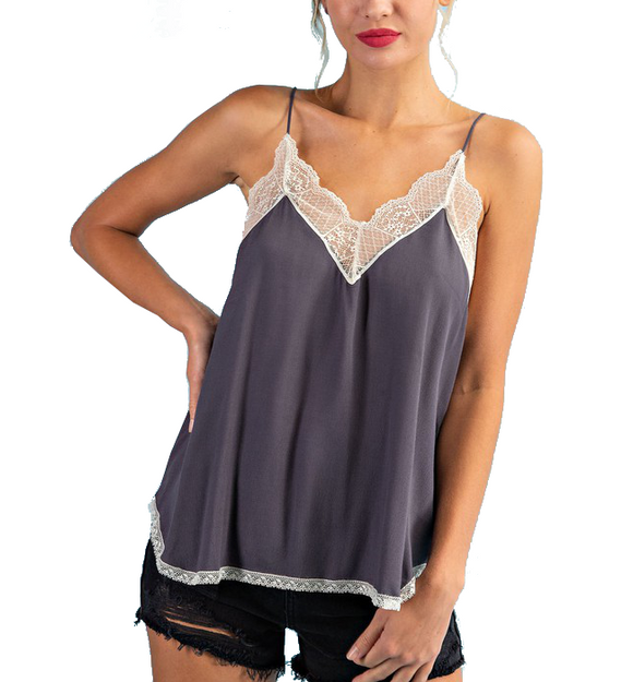 Lace Camisole Top in Slate Gray - Hudson Square Boutique