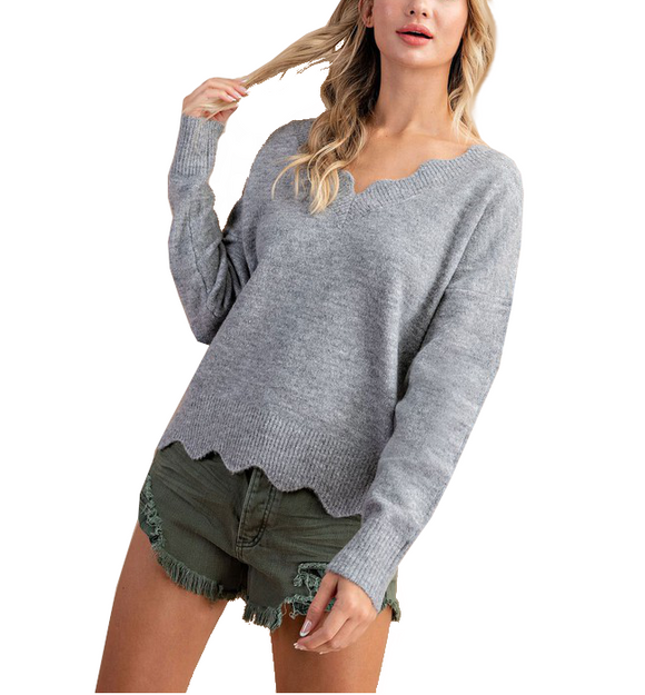 V Neck Scalloped Sweater