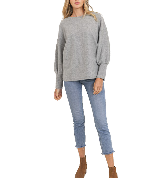 Heather Gray Puff Sleeve Top