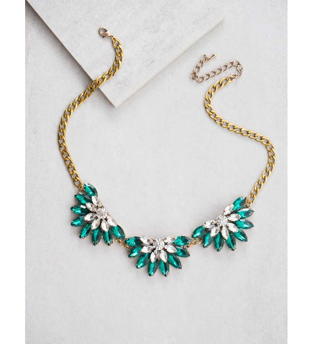 Teal Layered Crystal Necklace - Hudson Square Boutique