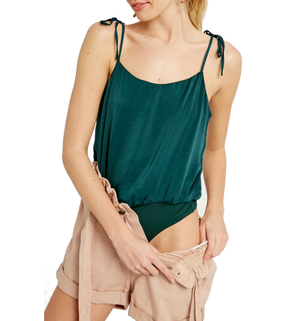 Hunter Green Tie Strap Bodysuit - Hudson Square Boutique