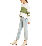 Ivory + Green Colorblocked Top - Hudson Square Boutique