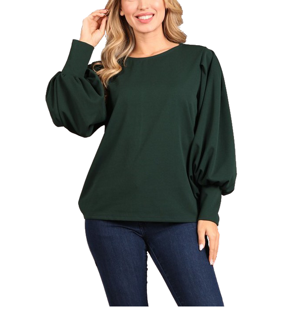 Hunter Green Balloon Sleeve Top