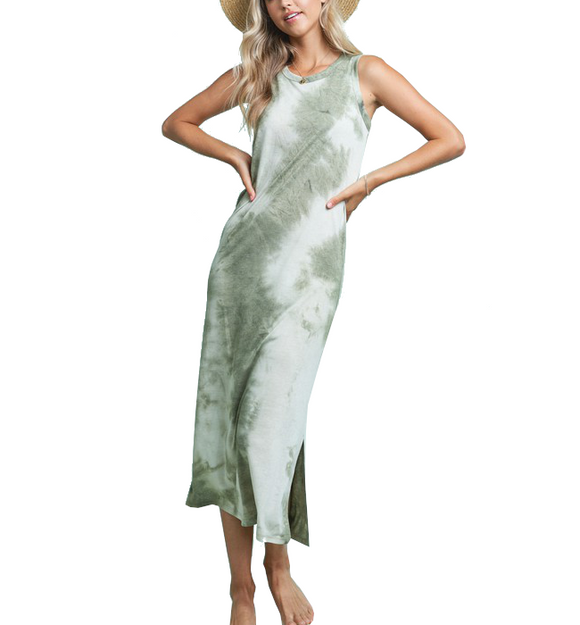 Olive Tie Dye Midi Dress - Hudson Square Boutique