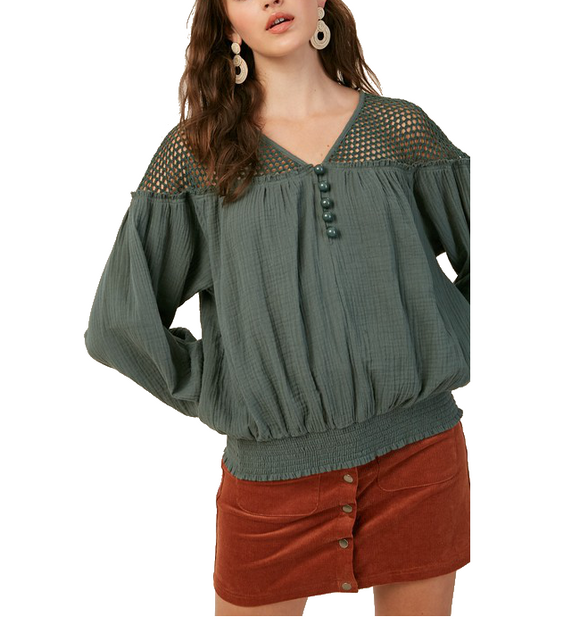 Emerald Green Mesh Shoulder Top