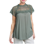 Lace Mock Neck Top in Olive