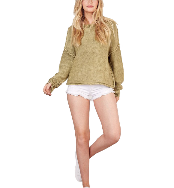 Moss Brushed Knit Top