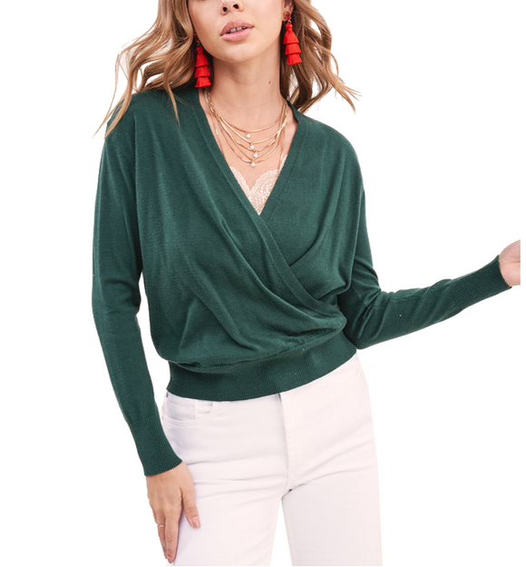 Wrap Knit Sweater Top - Hudson Square Boutique
