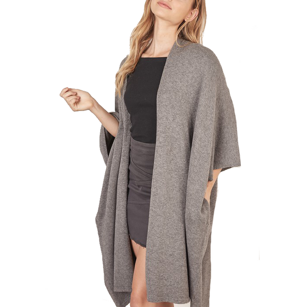 Heather Gray Poncho Cardi
