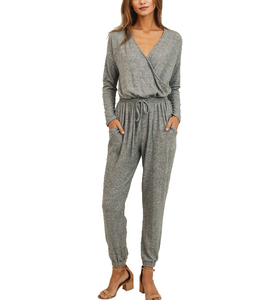 Gray Brushed Knit Jumpsuit