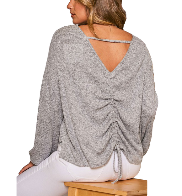 Gray Shirring Back Detail Top - Hudson Square Boutique
