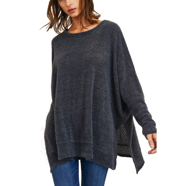 Charcoal Poncho Top