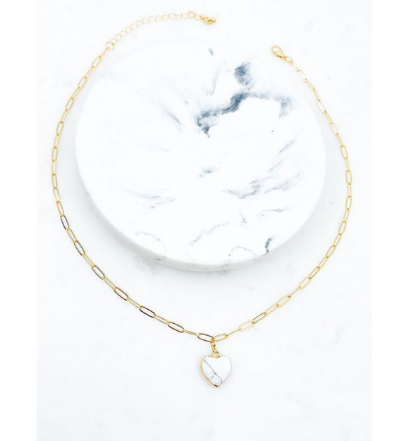 Gold + White Heart Stone Necklace - Hudson Square Boutique LLC