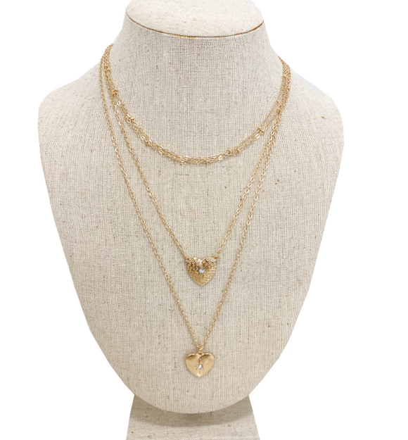 Triple Layer Dainty Heart Necklace - Hudson Square Boutique