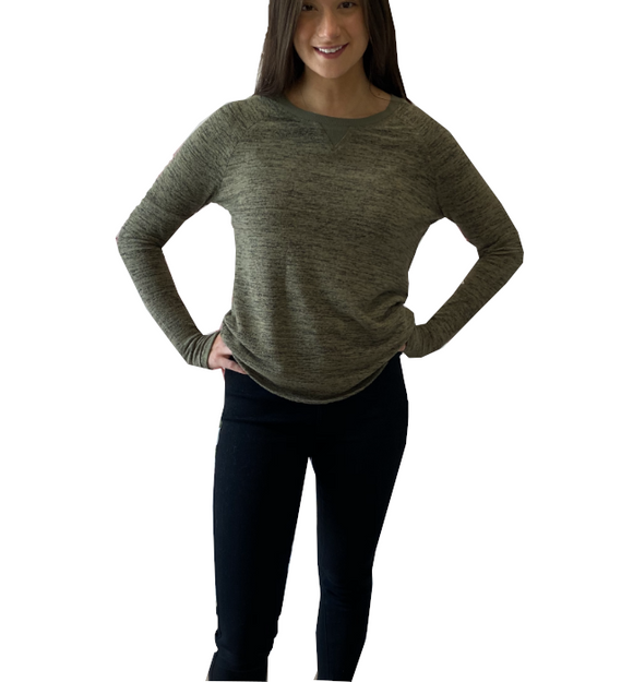 Streaky Thumbhole Pullover in Olive
