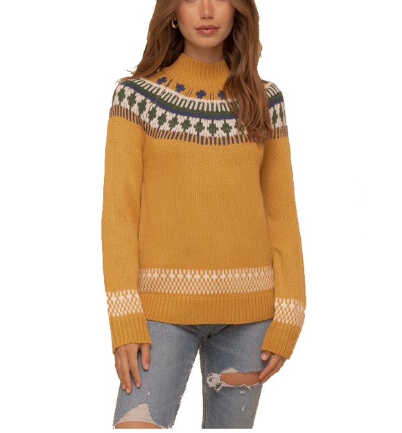 Jacquard Knit Mock Neck Sweater - Hudson Square Boutique