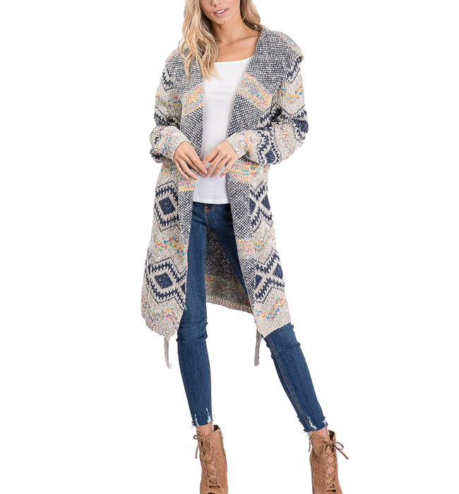 Hooded Long Sleeve Tribal Cardi