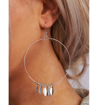 Silver Boho Hoops with feathers