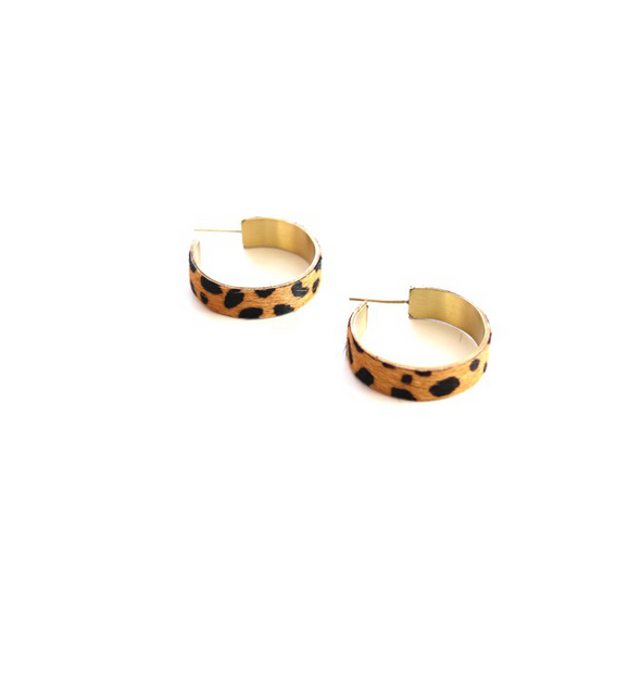 Small Leopard Hoops