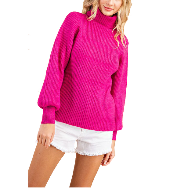 Hot Pink Ribbed Knit Turtleneck