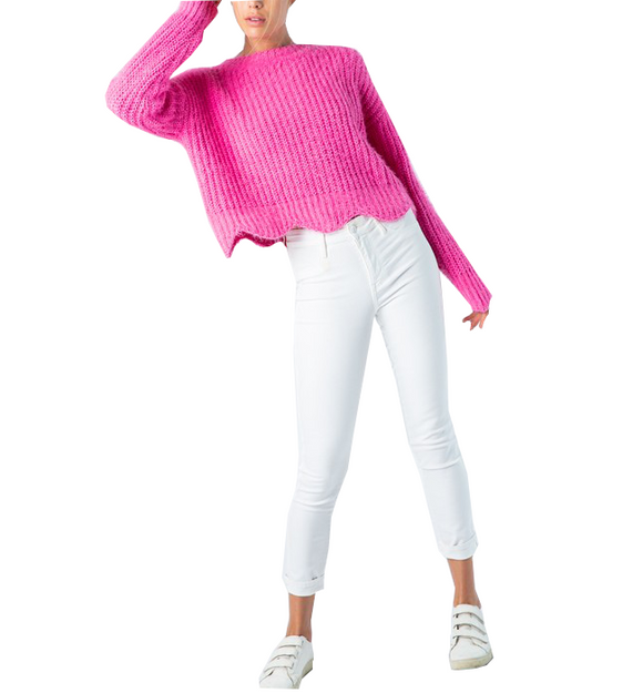Mohair Hot Pink Scalloped Sweater