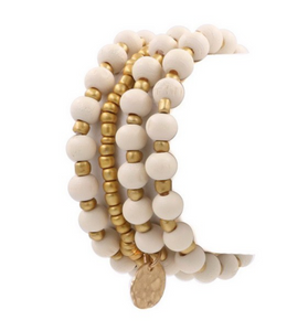Gold and Cream Beaded Stretch Bracelet