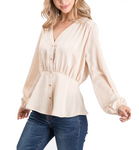 Royal Button Front Blouse
