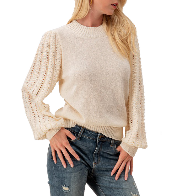 Ivory Mock Neck + Lace Sleeve Top