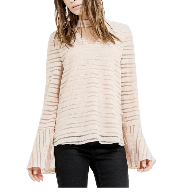 Bell Sleeve Blouse in Cream - Hudson Square Boutique