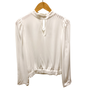 Keyhole Front Blouse in Ivory - Hudson Square Boutique LLC