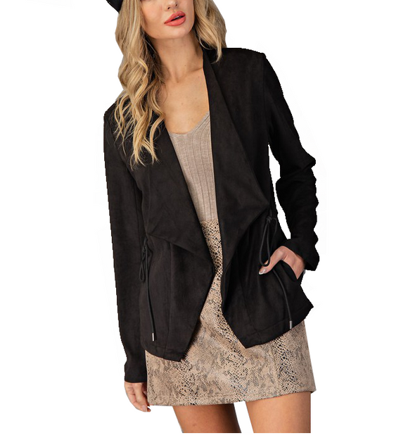 Black Vegan Suede Jacket - Hudson Square Boutique