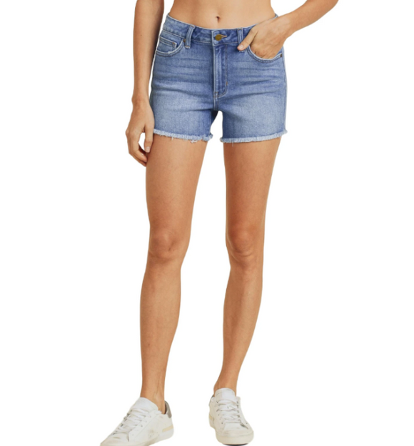 Just Black High Rise Fray Jean Shorts - Hudson Square Boutique