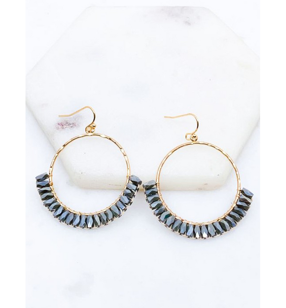 Gray Beaded Round Earrings - Hudson Square Boutique