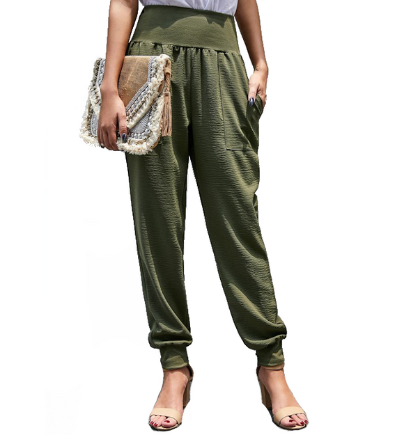 Olive High Waisted Relaxed Jogger