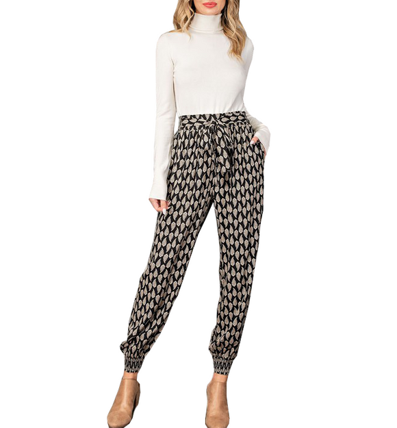 Printed Tie Waist Joggers