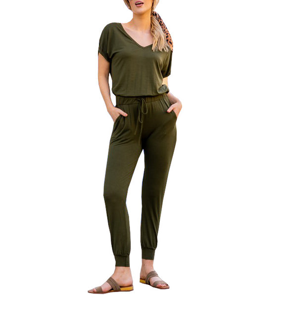 Olive V Neck Jumpsuit - Hudson Square Boutique