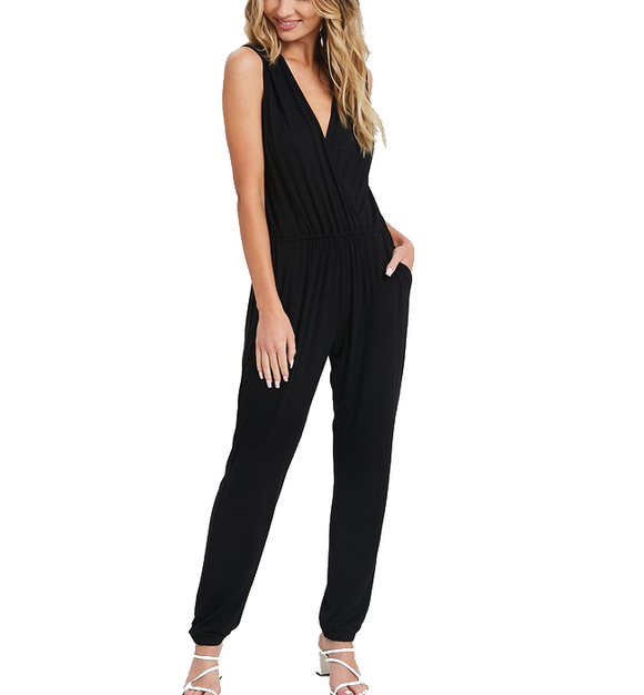 Solid V-Neck Sleeveless Jumpsuit Black - Hudson Square Boutique
