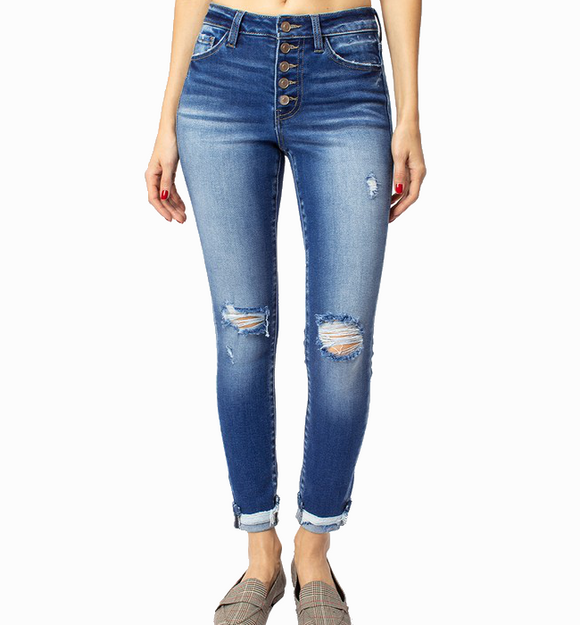 KanCan Button Front Distressed Skinny Jeans