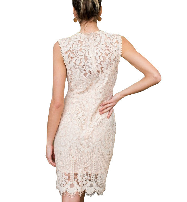 Blush Crochet Lace Cocktail Dress