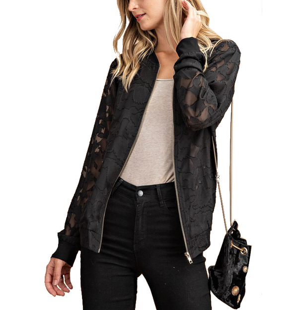 Sheer Black Bomber Jacket