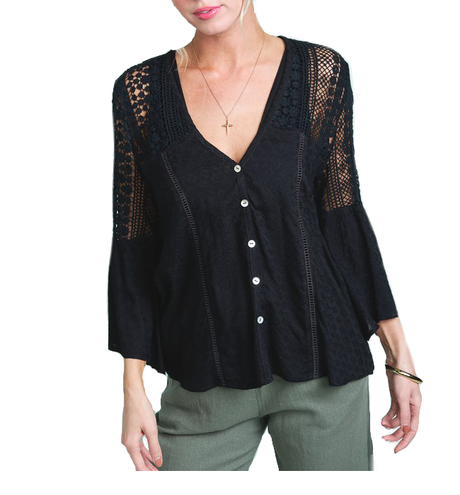 Southern Bell Lace Top in Black