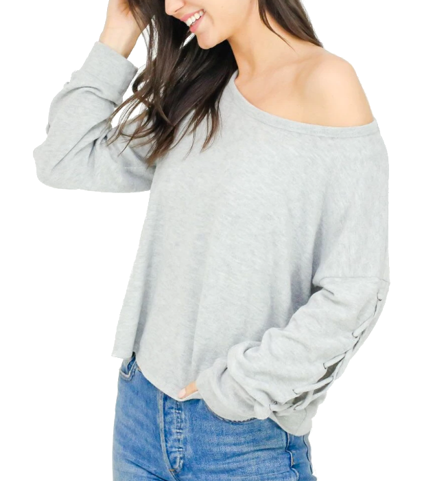 Lace Up Top Heather Gray