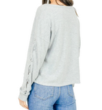 Lace Up Top Heather Gray - Hudson Square Boutique