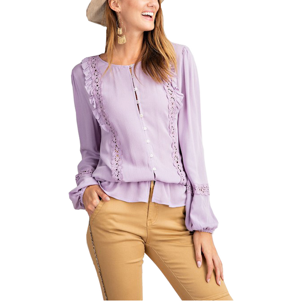 Lilac Ruffle Blouse - Hudson Square Boutique