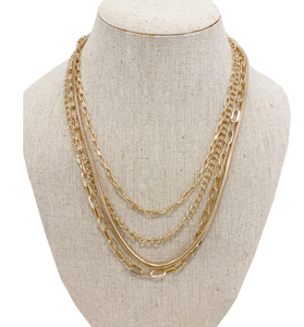 Layered Gold Chain Necklace - Hudson Square Boutique