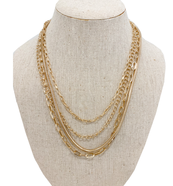 Layered Gold Chain Necklace - Hudson Square Boutique LLC
