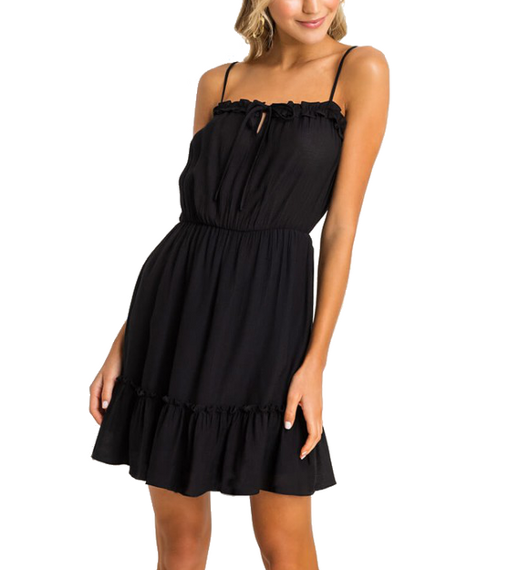 Tiered Black Dress - Hudson Square Boutique