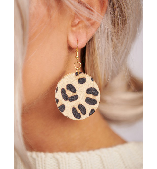 Texture Printed Leather Earrings