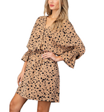 Leopard Printed Bell Sleeve Dress - Hudson Square Boutique